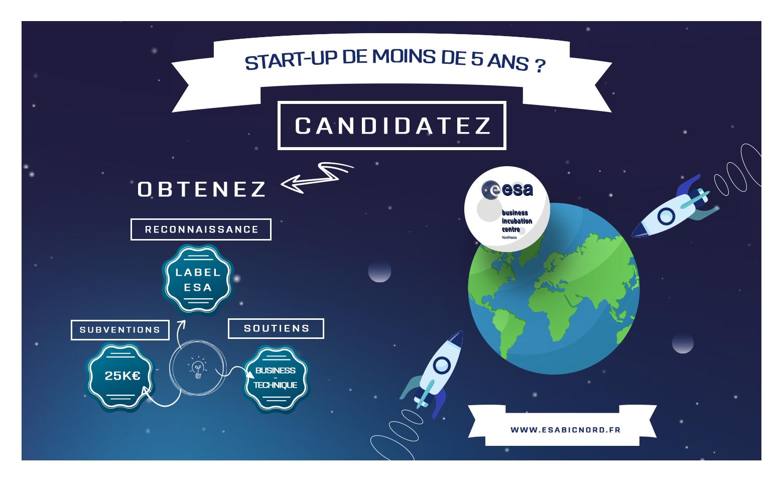 Startups de moins de 5 ans. Appel à candidatures ESA BIC NORD FRANCE